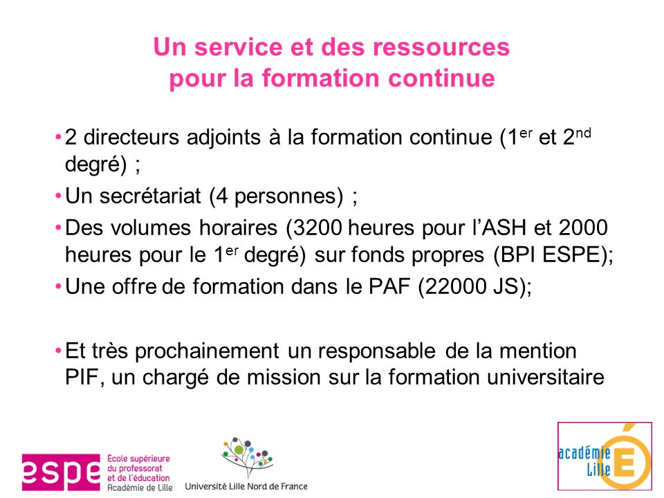 formation continue 1er degre