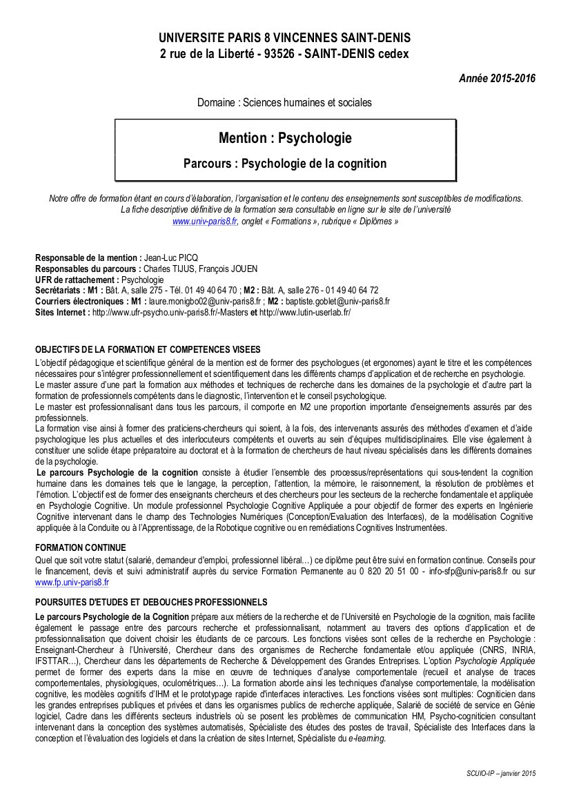 formation continue psychologie paris 8