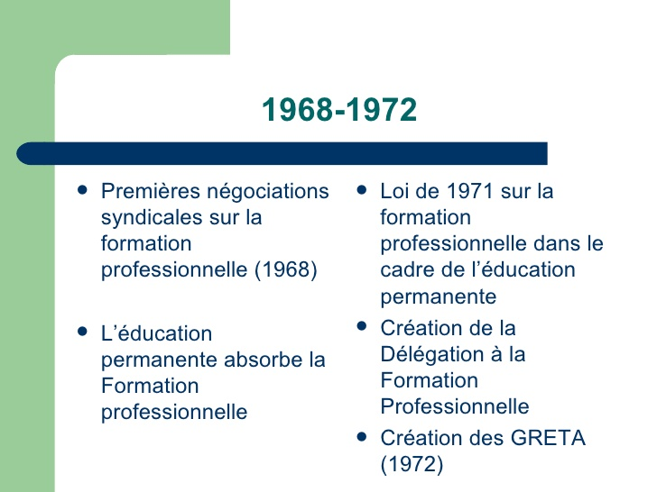formation professionnelle 1971