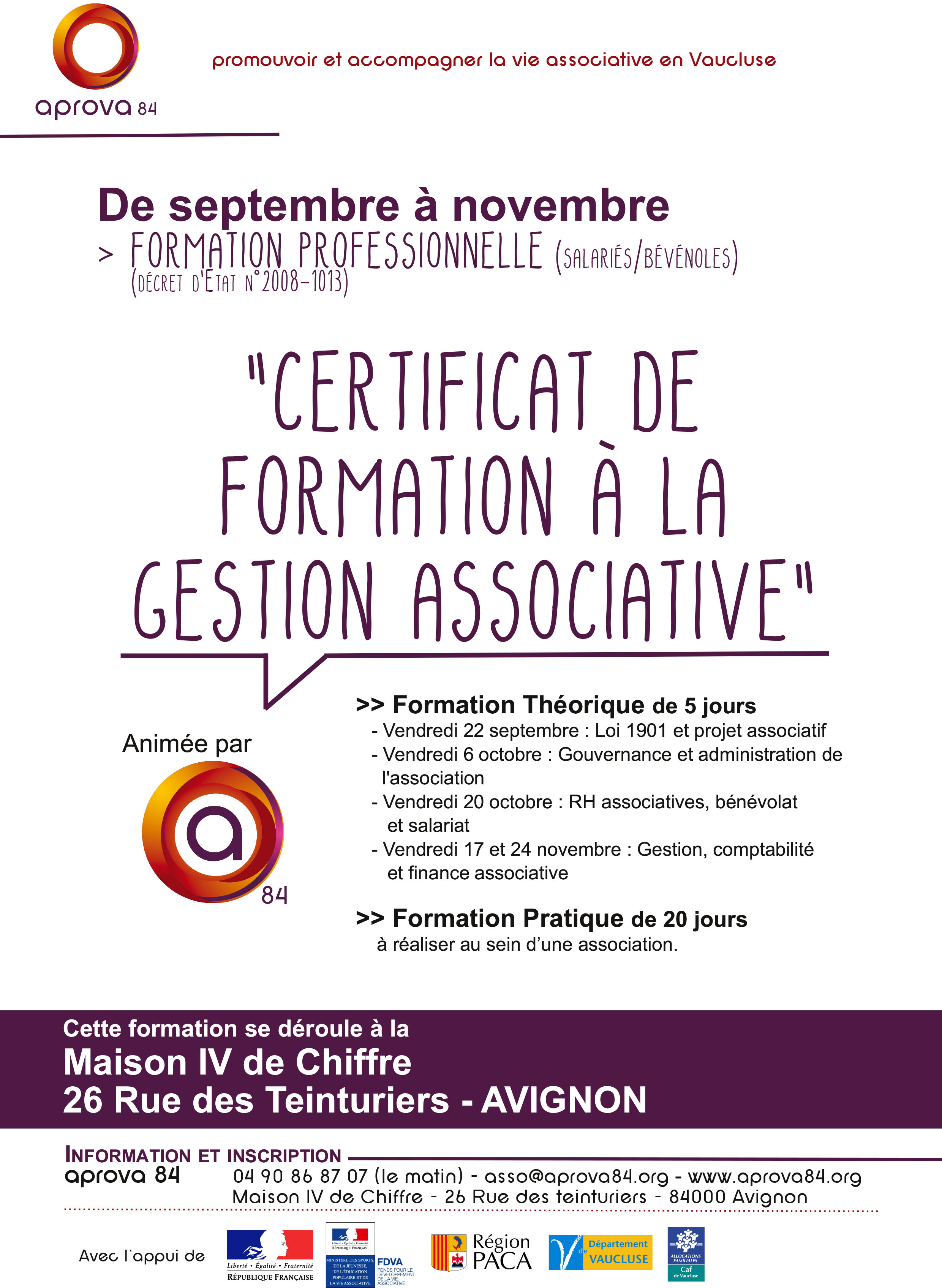 formation professionnelle 84000