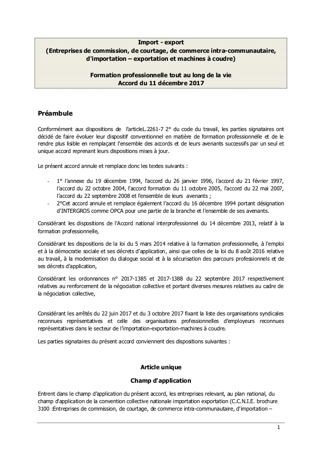 formation professionnelle import export