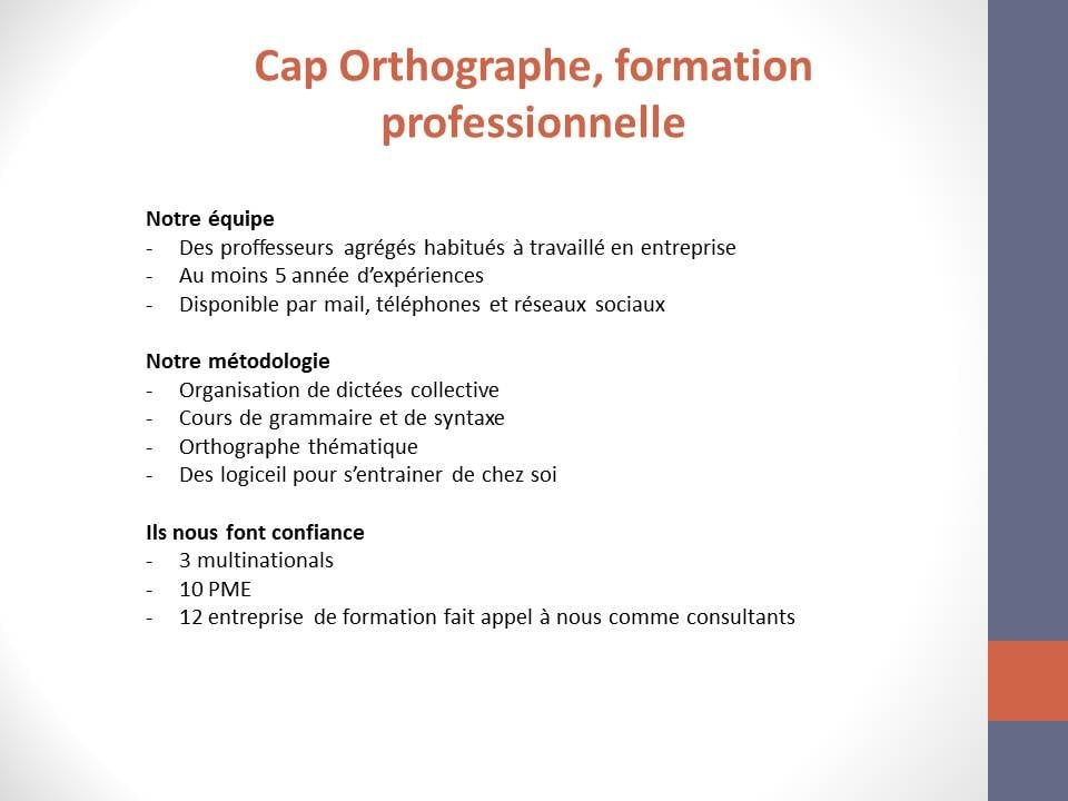 formation professionnelle orthographe