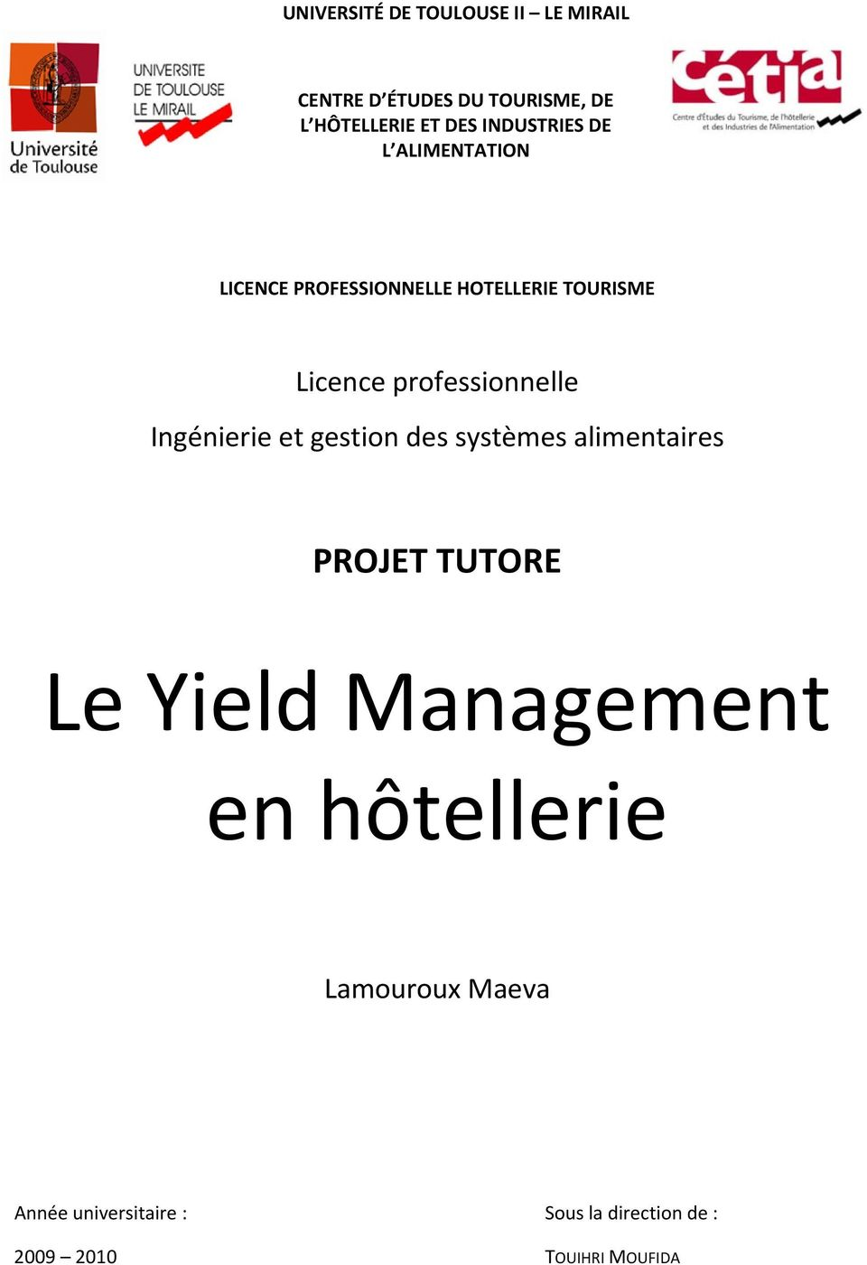 formation professionnelle yield management